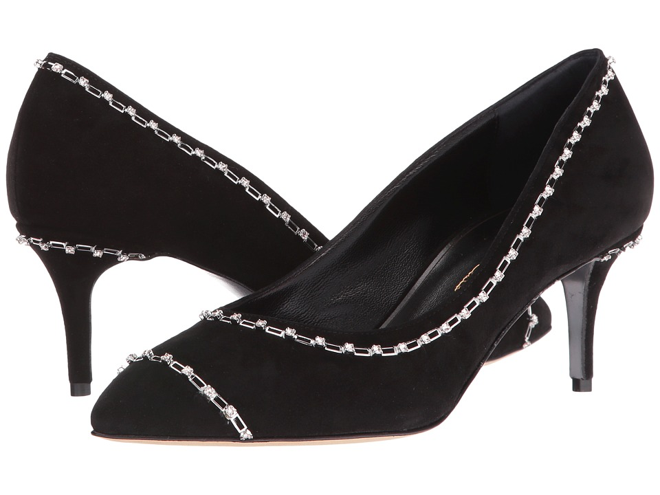 Oscar de la Renta - Vivian 55mm (Black Suede/Crystals) Women's Shoes