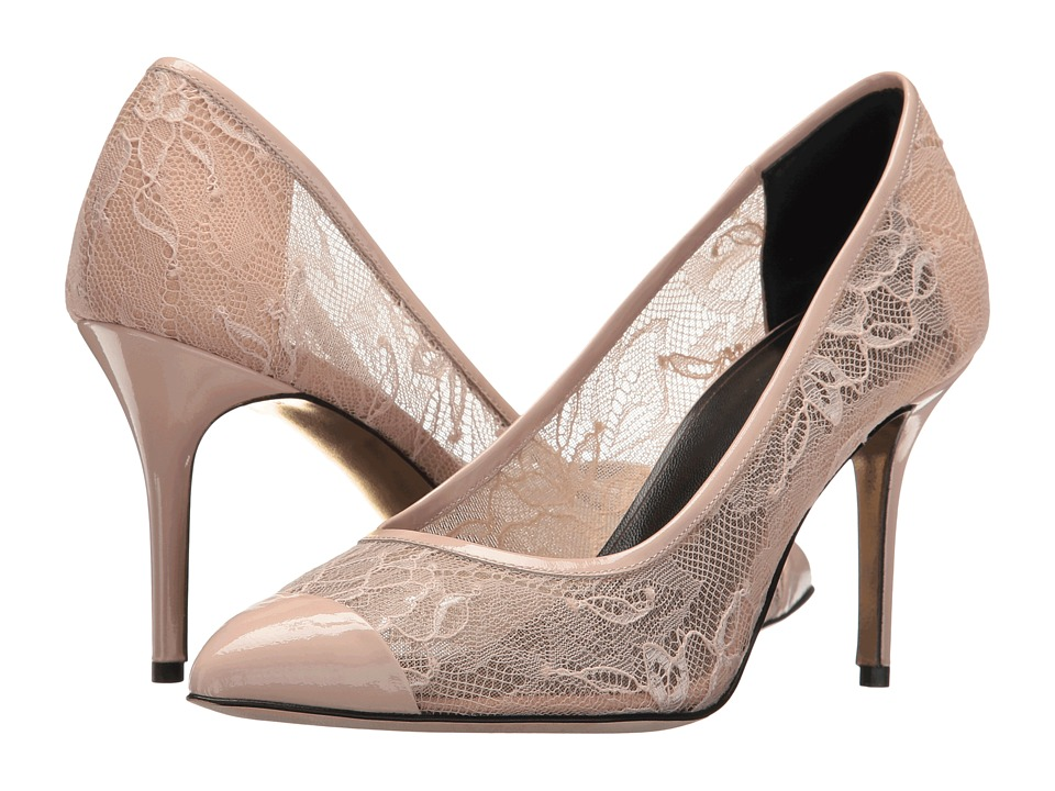 Oscar de la Renta Willow 85mm (Nude Lace/Patent Leather) Women