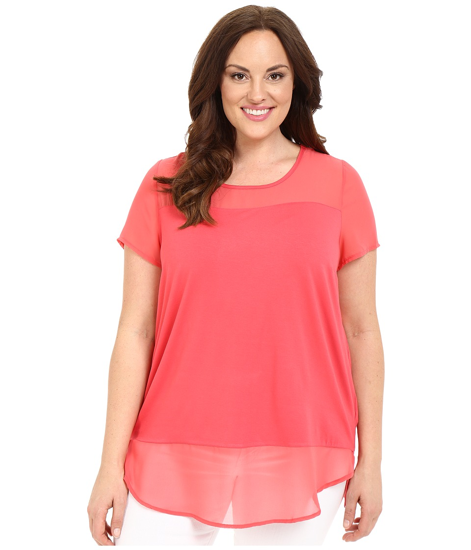 Vince Camuto Plus - Plus Size Short Sleeve Mix Media Top with Chiffon Yoke and Hem (Guava Fruit) Women's Blouse