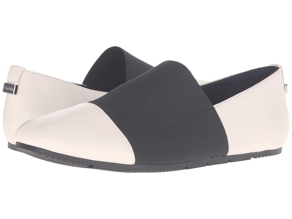 Calvin Klein - Poppia (Soft White/Black Tumbled Leather/Elastic) Women's Shoes