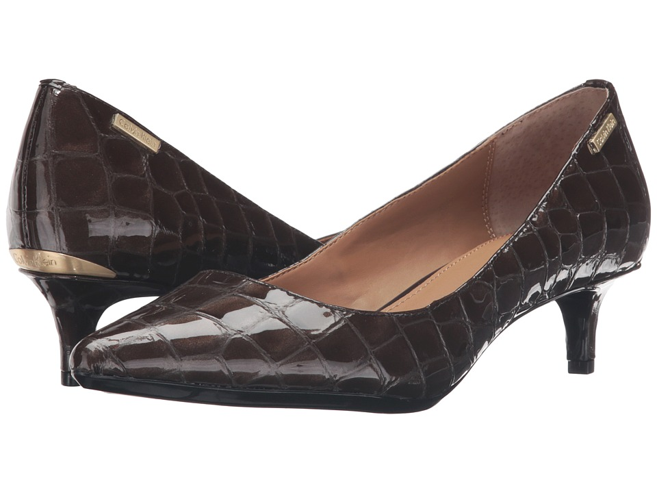 Calvin Klein - Gabrianna (Coffee Bean Croco Print Patent) Women's 1-2 inch heel Shoes