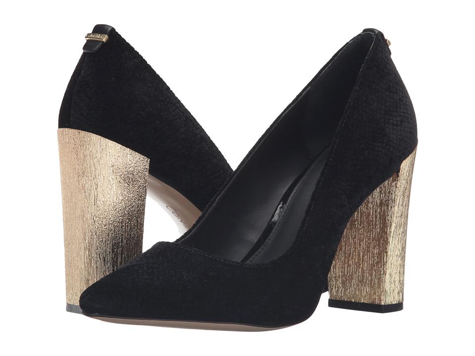 Calvin Klein - Neema (Black Velvet Snake Print) Women's Zip Boots