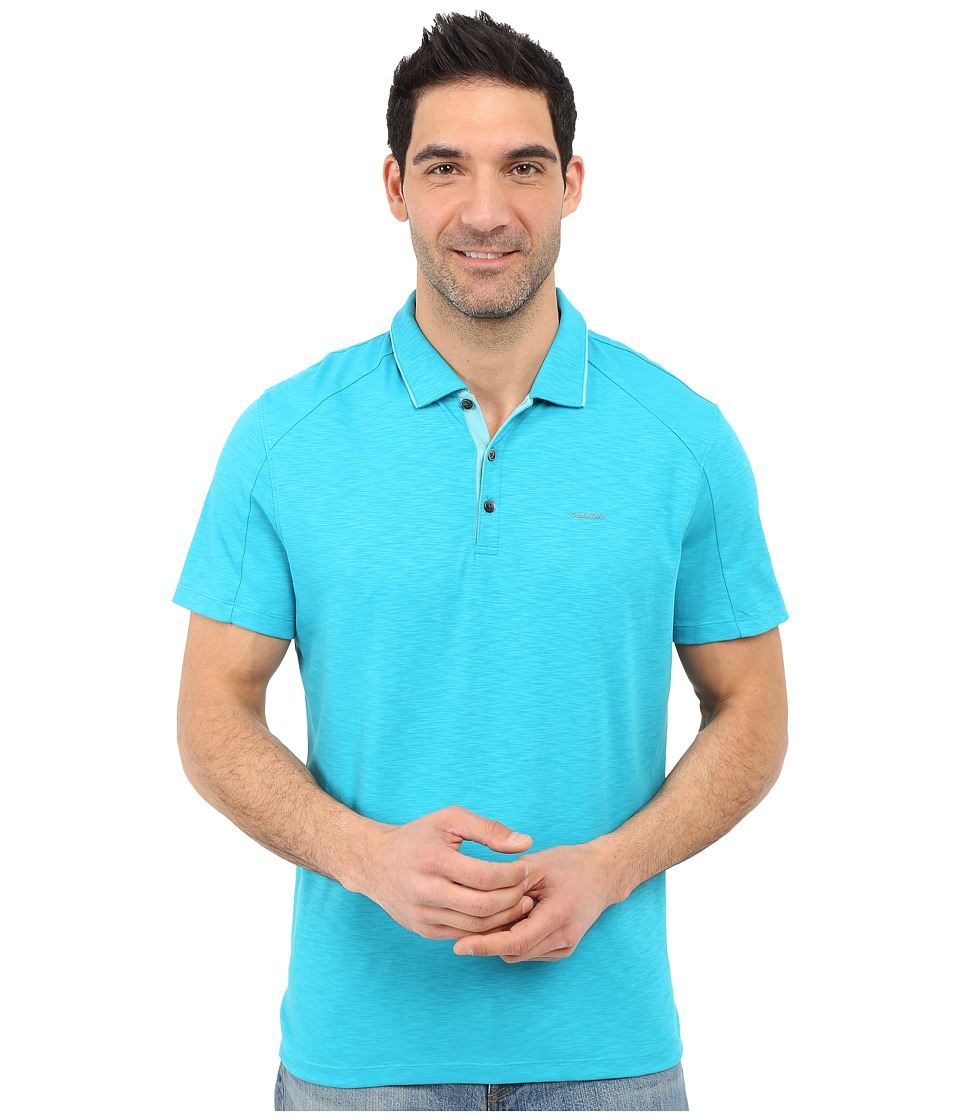 Calvin Klein - Classic Fit Liquid Cotton Tipped Polo Shirt (Algiers Blue) Men's Short Sleeve Pullover