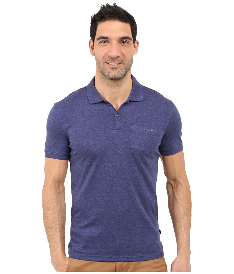 Calvin Klein - Slim Fit Liquid Cotton Pocket Polo Shirt (Clematis Blue) Men's Short Sleeve Pullover