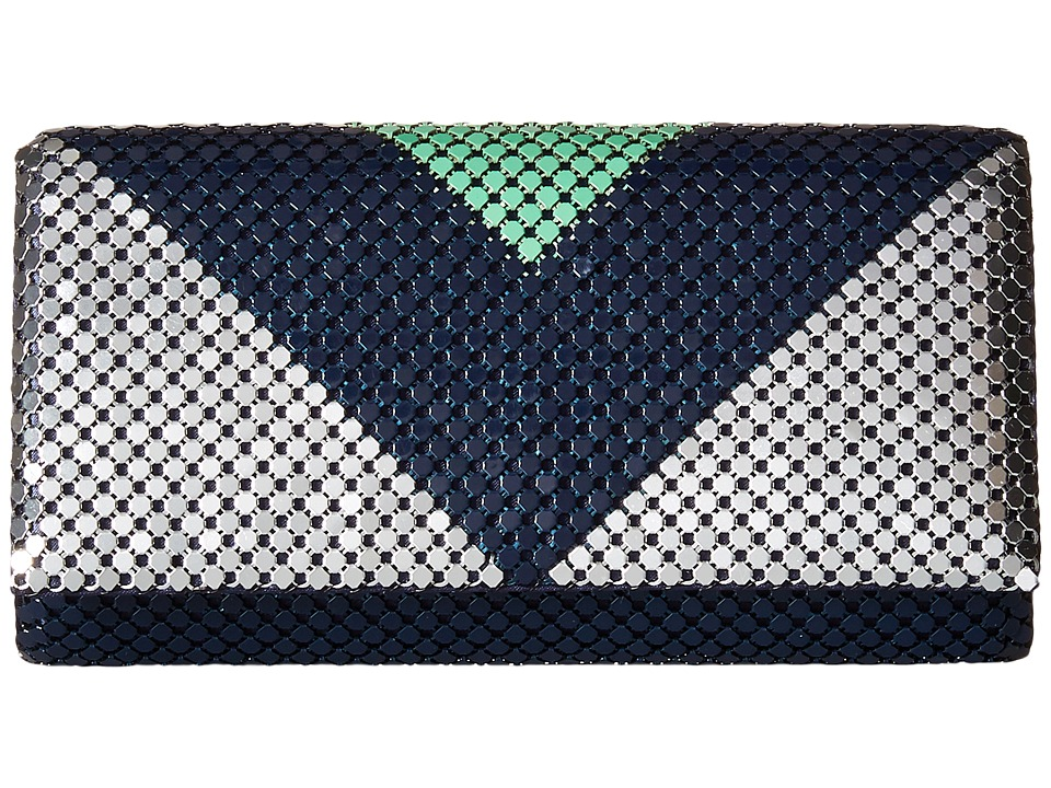 Jessica McClintock - Cassie Color Block Clutch (Teal/Navy/Silver) Clutch Handbags