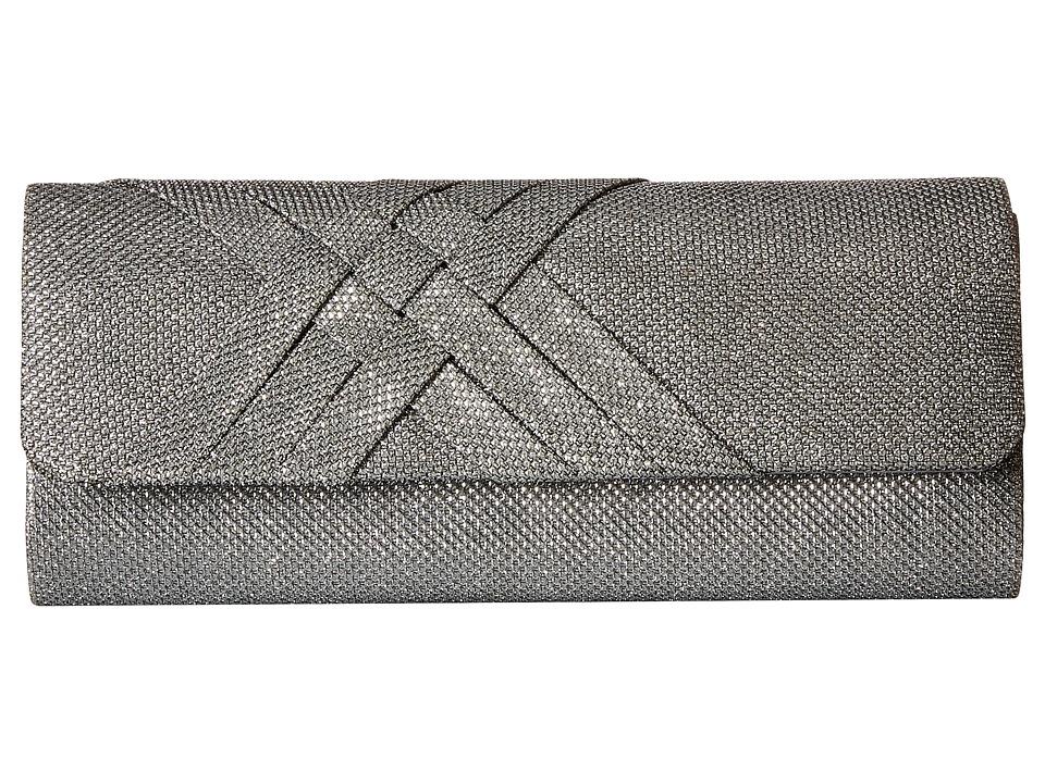 Jessica McClintock - Addison Glitter Flap Clutch (Silver) Clutch Handbags