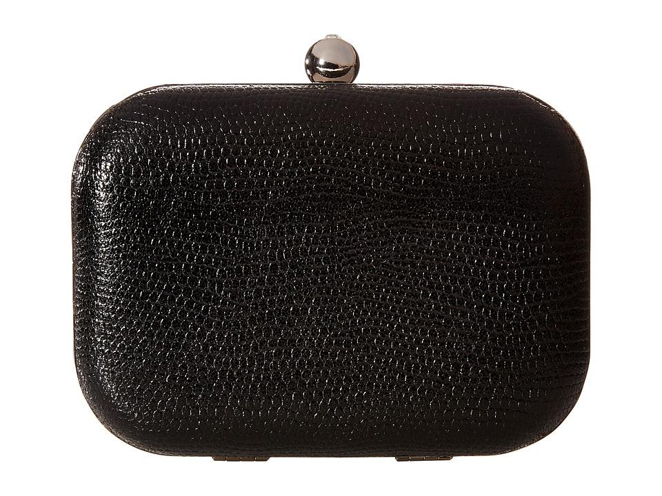 Jessica McClintock - Roxi Metallic Minaudiere (Black) Clutch Handbags