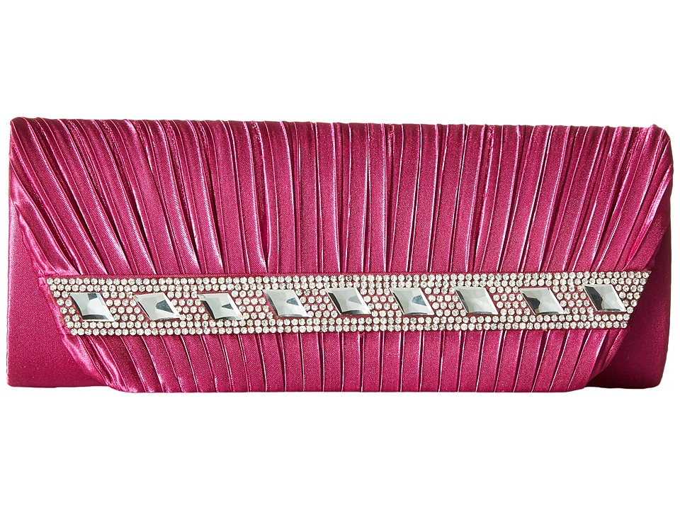 Jessica McClintock - Lisa Satin Clutch (Raspberry) Clutch Handbags