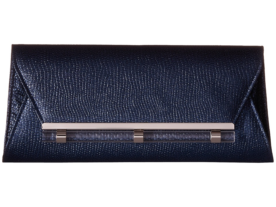 Jessica McClintock - Raquel Metallic Clutch (Navy) Clutch Handbags