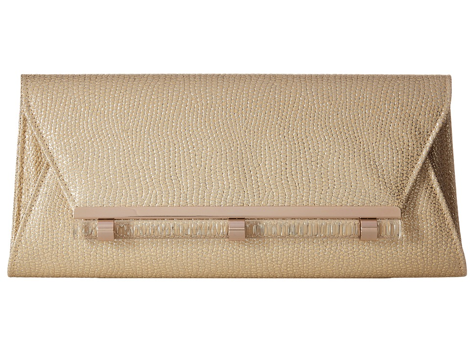 Jessica McClintock - Raquel Metallic Clutch (Light Gold) Clutch Handbags