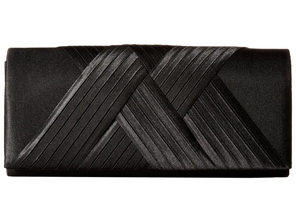 Jessica McClintock - Abbey Satin Clutch (Black) Clutch Handbags
