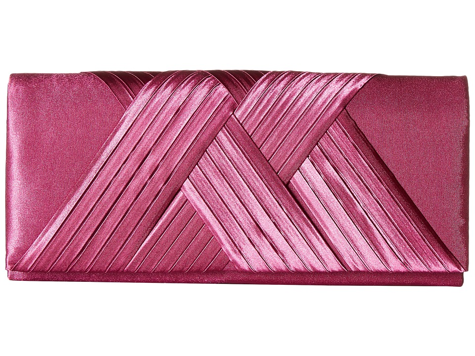 Jessica McClintock Abbey Satin Clutch (Raspberry) Clutch Handbags