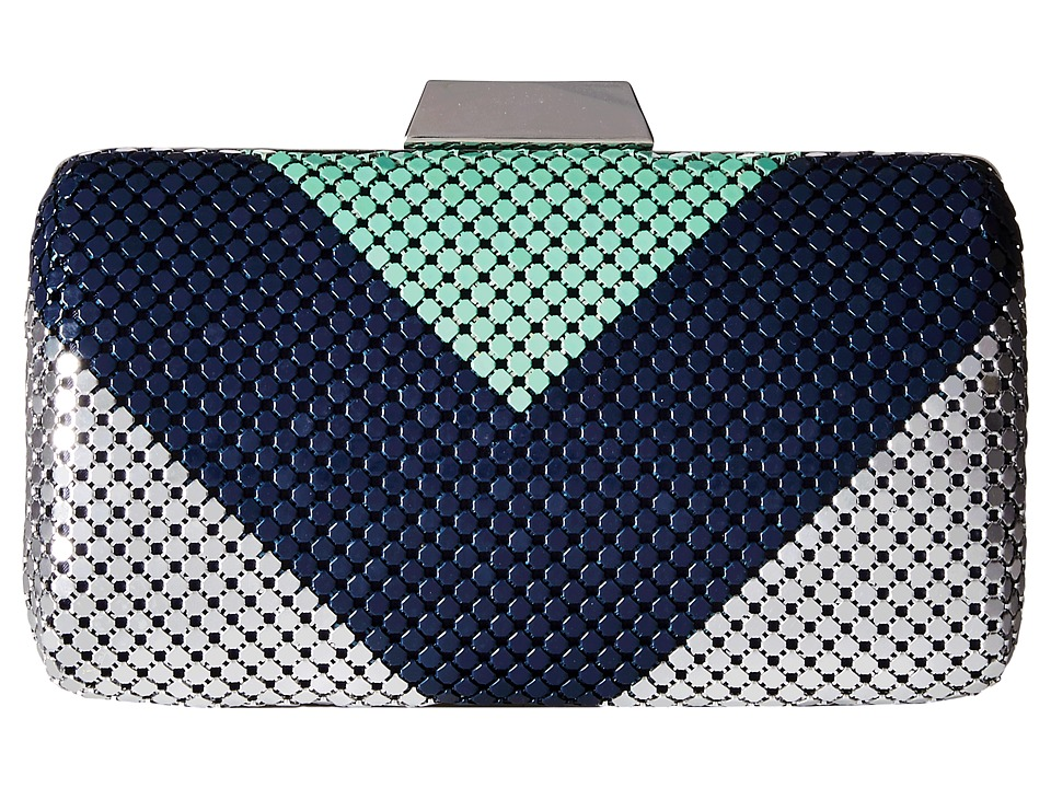Jessica McClintock - Callie Color Block Minaudiere (Teal/Navy/Silver) Clutch Handbags