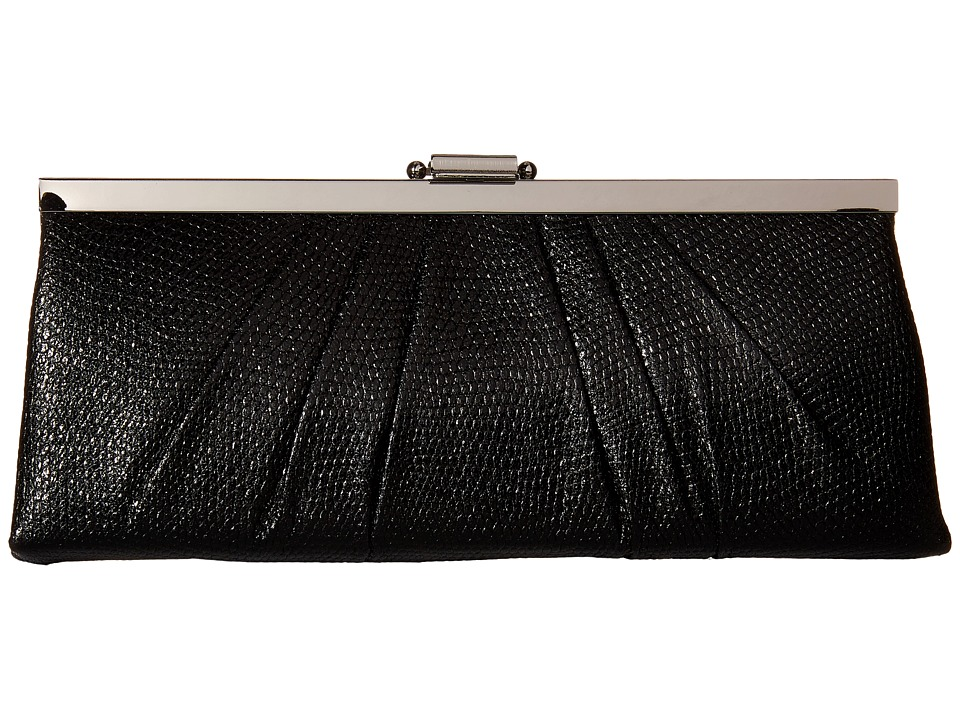 Jessica McClintock - Blaire Metallic Frame Clutch (Black) Clutch Handbags