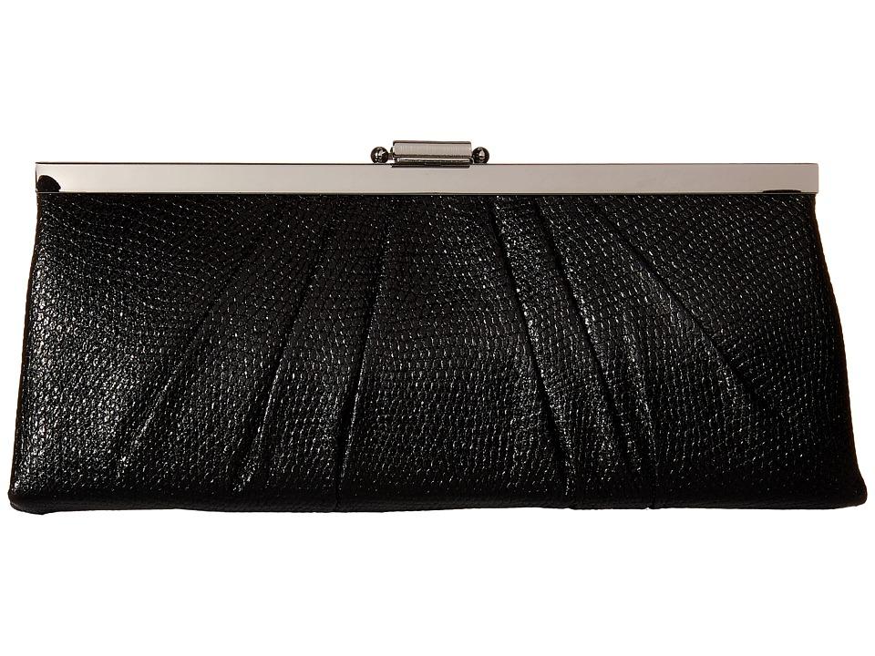 Jessica McClintock - Blaire Metallic Frame Clutch (Black) Clutch Handbags
