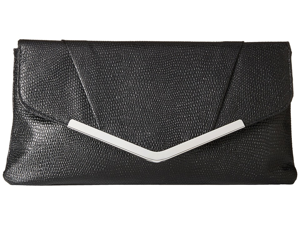 Jessica McClintock - Arielle Metallic Enevelope Clutch (Black) Clutch Handbags