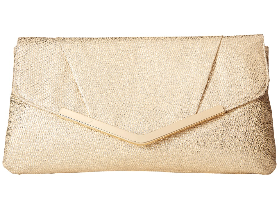 Jessica McClintock - Arielle Metallic Enevelope Clutch (Light Gold) Clutch Handbags