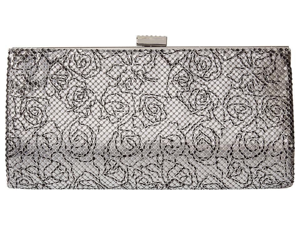 Jessica McClintock - Bailey Floral Mesh Clutch (Silver) Clutch Handbags