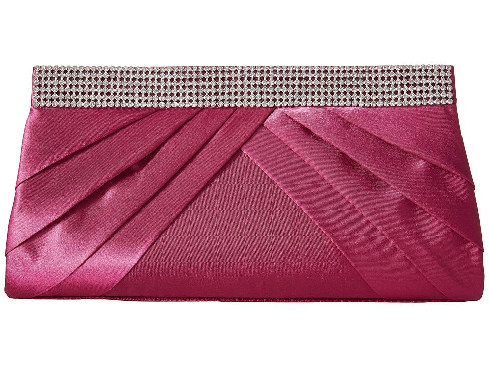Jessica McClintock - Calista Rhinestone Clutch (Raspberry) Clutch Handbags