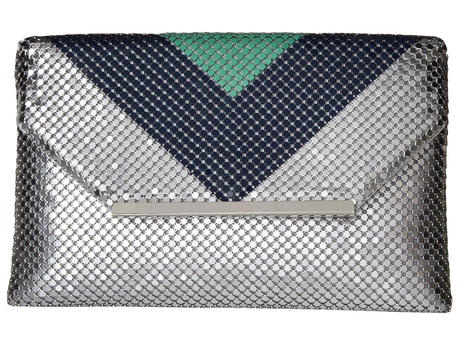 Jessica McClintock - Keria Color Block Envelope Clutch (Teal/Navy/Silver) Clutch Handbags
