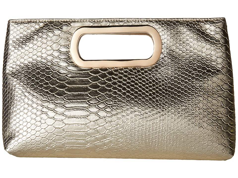 Jessica McClintock - Tiffany Embossed Snake Clutch (Gold) Clutch Handbags