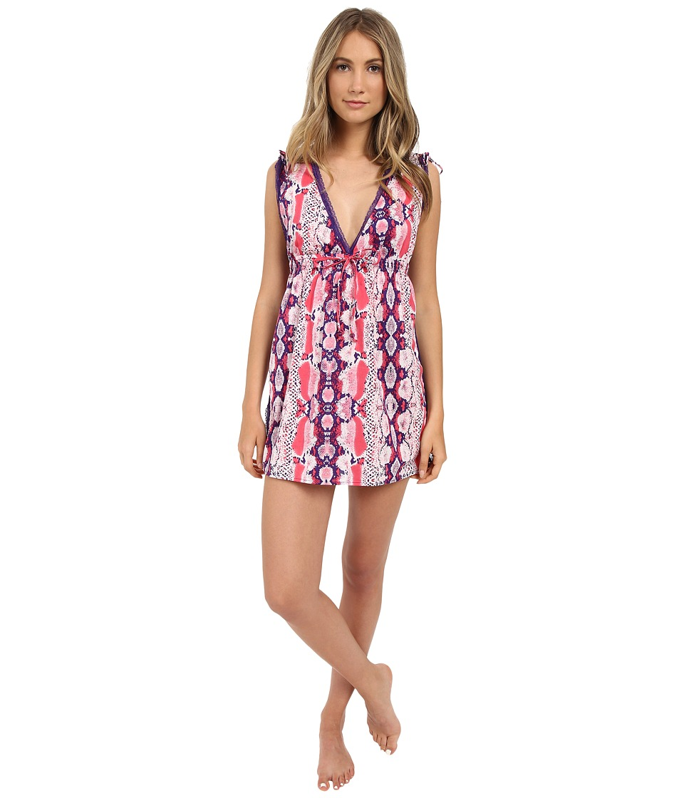 Betsey Johnson - Open Back Sleep Shirt (Hippie Snake Electric Coral) Women's Pajama