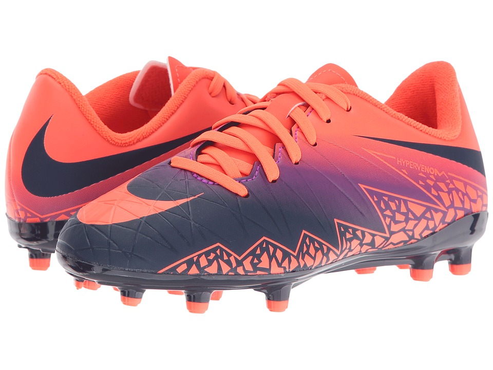 Nike Kids - Jr Hypervenom Phelon II FG Soccer (Toddler/Little Kid/Big Kid) (Total Crimson/Vivid Purple/Obsidian) Kids Shoes