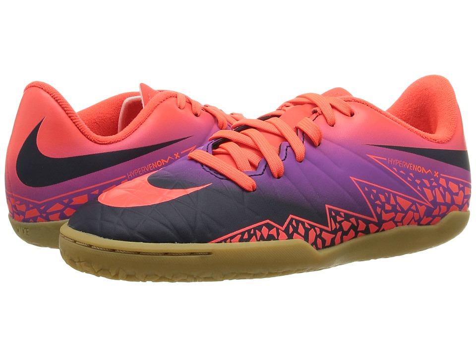 Nike Kids - Jr Hypervenom Phelon II IC Soccer (Toddler/Little Kid/Big Kid) (Total Crimson/Vivid Purple/Obsidian) Kids Shoes