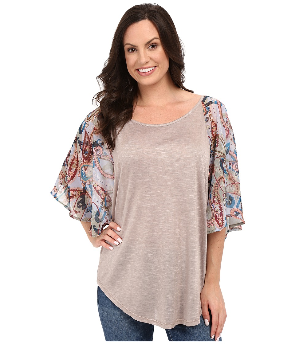 Petrol - Flutter Chiffon Sleeve Top (Multi) Women's Blouse