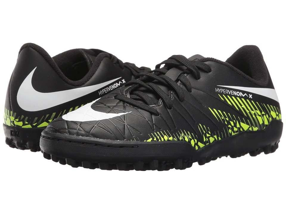 Nike Kids - Jr Hypervenom Phelon II TF Soccer (Toddler/Little Kid/Big Kid) (Black/Volt/Paramount Blue/White) Kids Shoes