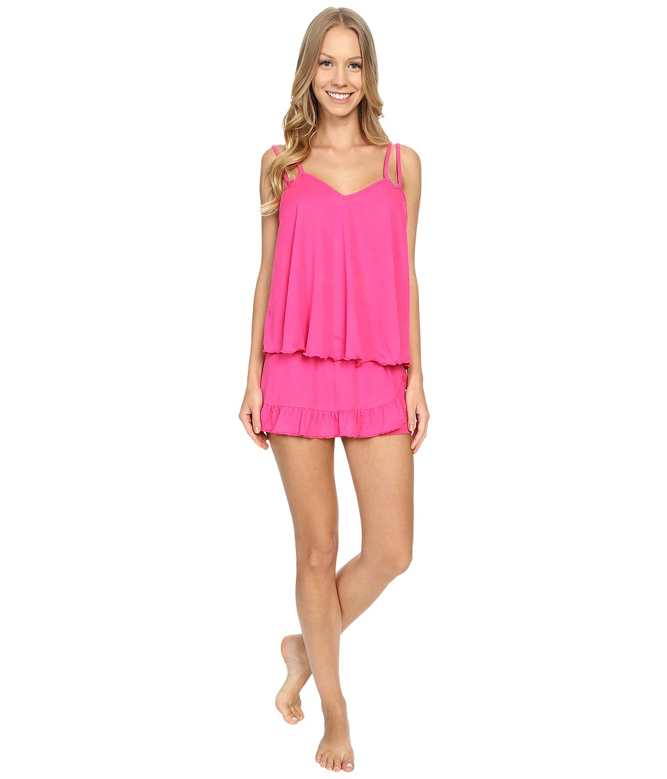 Betsey Johnson - Snake Burnout Jersey Shorts Set (Pink Scandal) Women's Pajama Sets