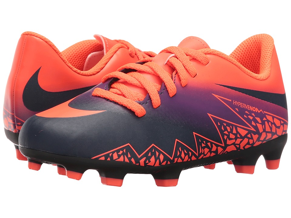 Nike Kids - Jr Hypervenom Phade 2 FG Soccer (Little Kid/Big Kid) (Total Crimson/Vivid Purple/Obsidian) Kids Shoes
