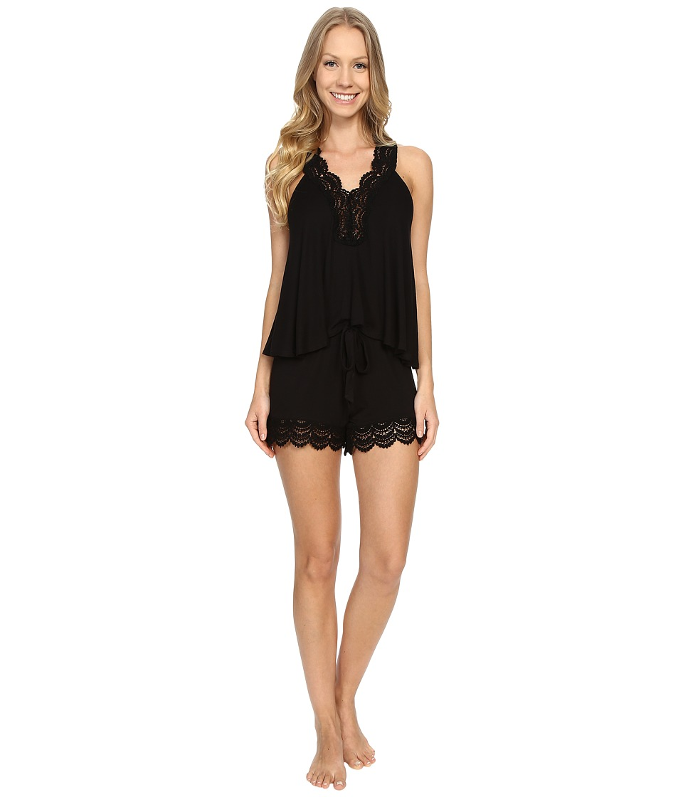 Betsey Johnson - Rayon Knit with Crochet Lace Shorts PJ Set (Raven Black) Women's Pajama Sets