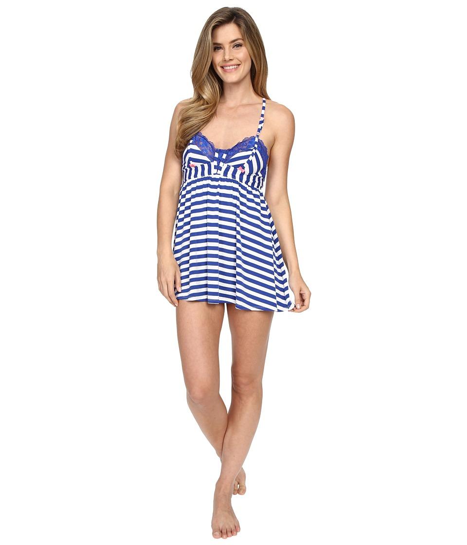 Betsey Johnson - Knit Babydoll with Matching Bikini (Knotty Navy Stripe) Women's Pajama