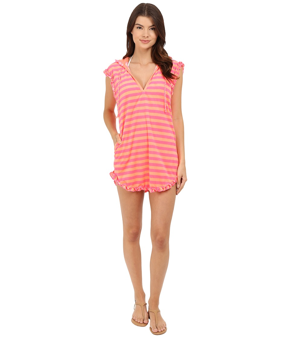 Betsey Johnson - Vintage Terry Tunic (Sunny Stripe Candy Coral) Women's Pajama plus size,  plus size fashion plus size appare