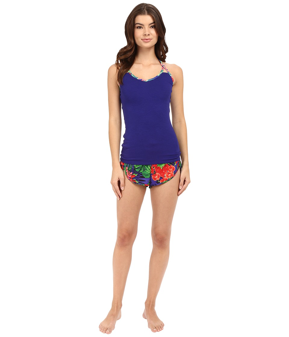 Betsey Johnson - Rib Knit and Washed Satin Shorts Set (African Violet/Tropical Escape) Women's Pajama Sets