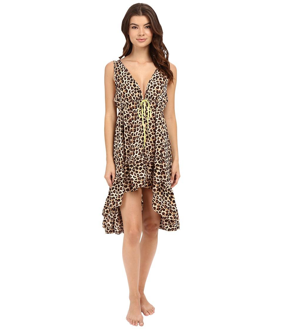 Betsey Johnson - Washed Satin Hi-Lo Slip (Leopard Tease) Women's Pajama