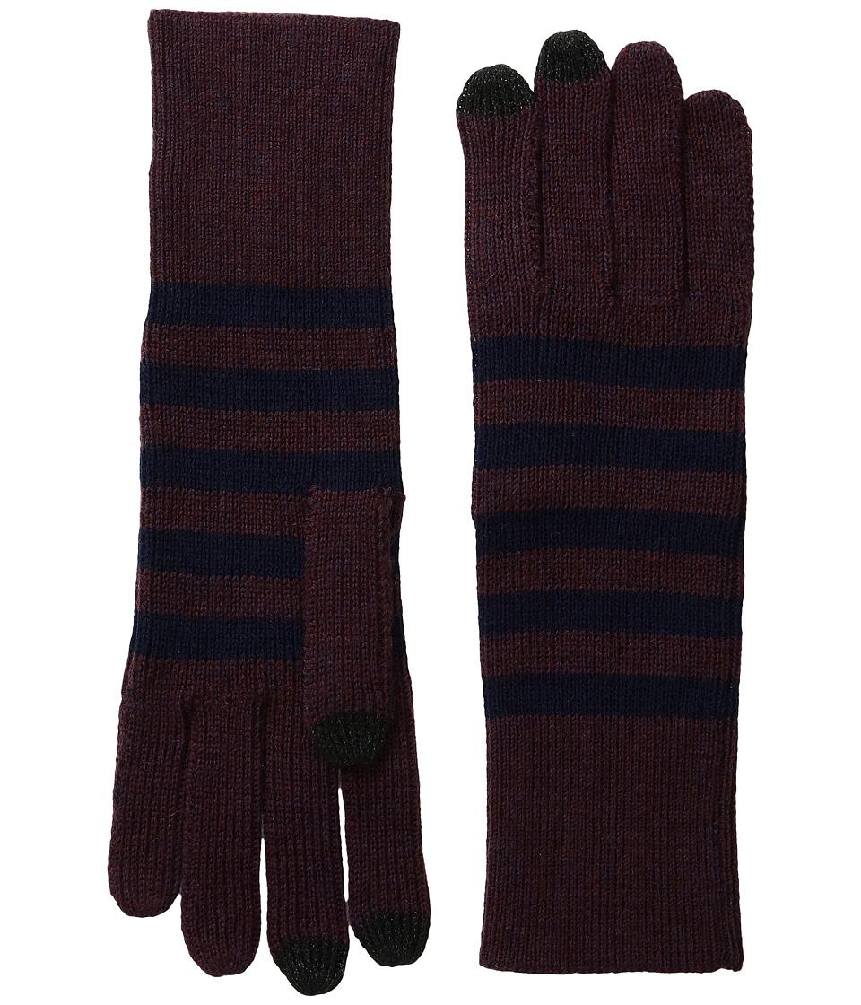 Marc Jacobs Logo Stripe Gloves (Navy Multi) Dress Gloves
