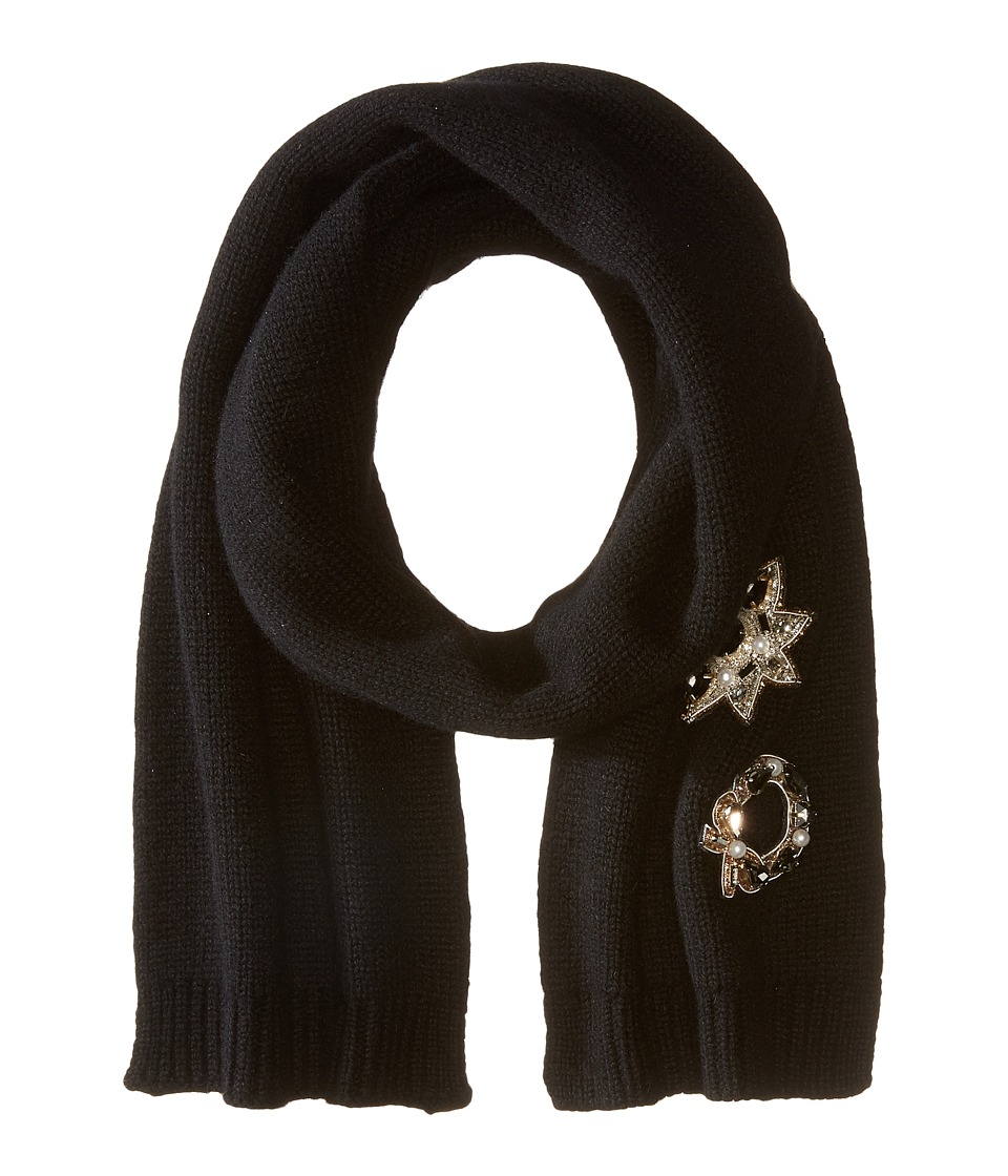 Marc Jacobs - Embellished Cashmere Scarf (Black) Scarves