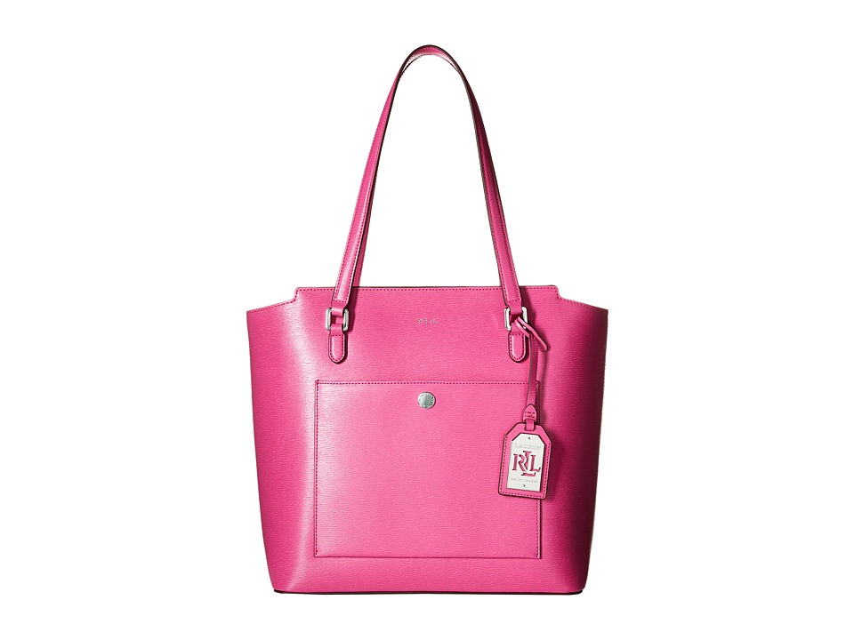 LAUREN Ralph Lauren - Newbury Mod Pocket Tote (Raspberry) Tote Handbags
