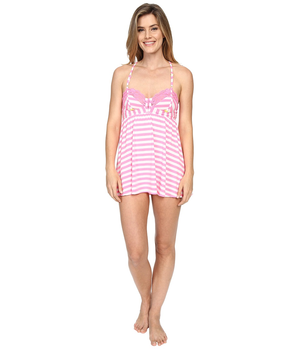 Betsey Johnson - Knit Babydoll with Matching Bikini (Pink Flamingo Stripe) Women's Pajama
