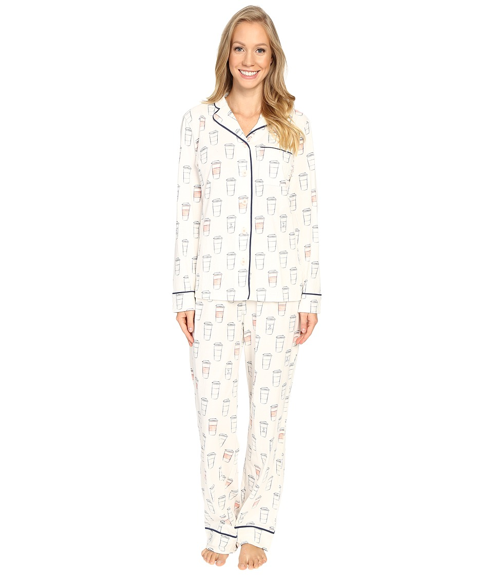 Life is Good - Coffee To Go Jersey Sleep Set (Simply Ivory) Women's Pajama Sets