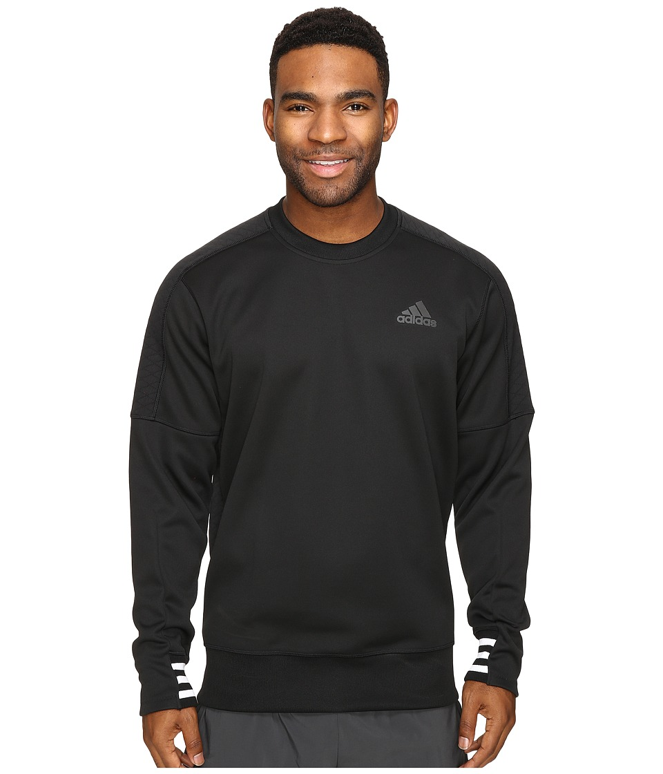 adidas - Sport ID Bonded Fleece Pullover Crew (Black/Black/White) Men's Long Sleeve Pullover