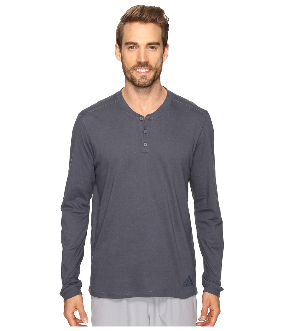 adidas - Postgame Long Sleeve Henley Top (Utility Blue/Black) Men's Long Sleeve Pullover