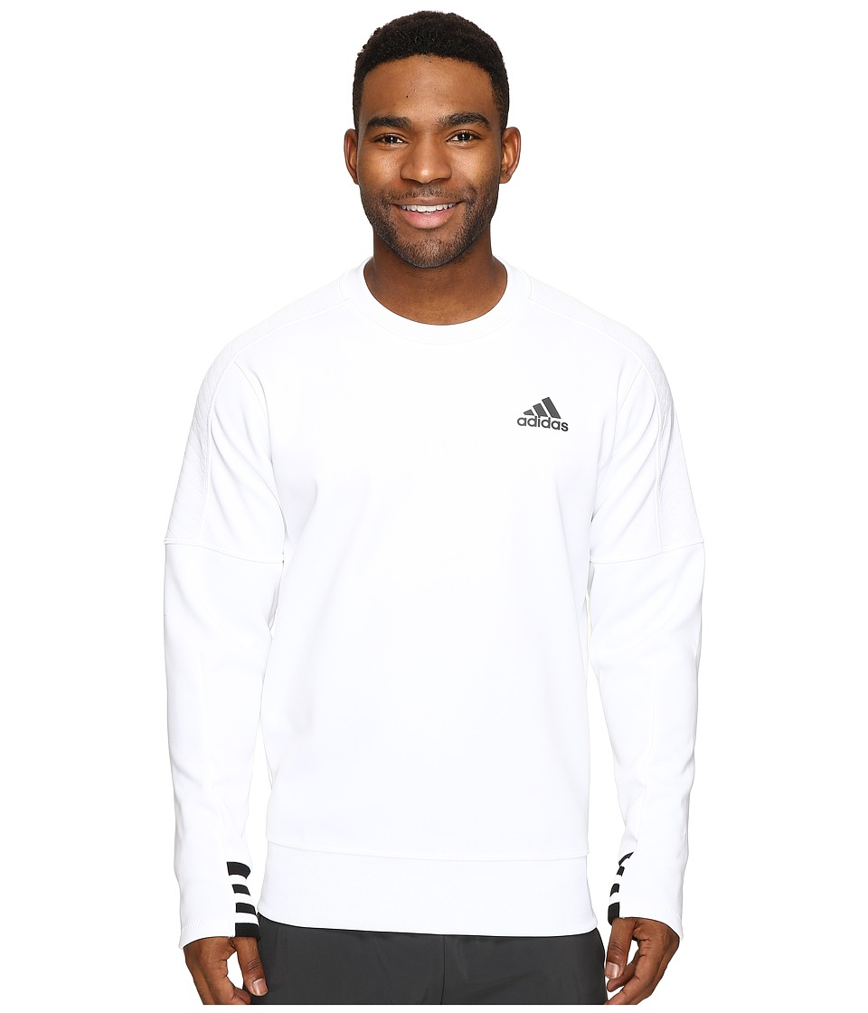 adidas - Sport ID Bonded Fleece Pullover Crew (White/Black/White) Men's Long Sleeve Pullover