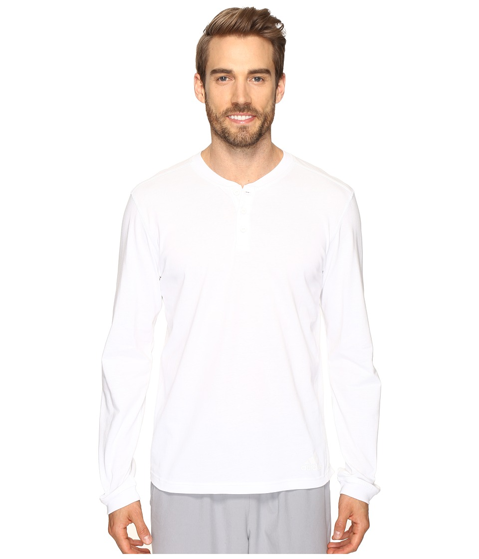 adidas - Postgame Long Sleeve Henley Top (White/Black) Men's Long Sleeve Pullover