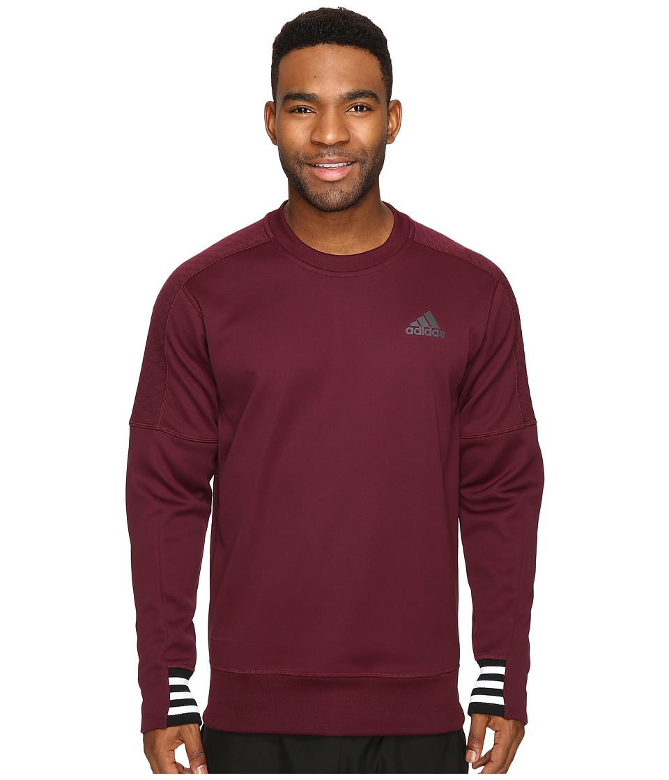 adidas - Sport ID Bonded Fleece Pullover Crew (Maroon/Black/White) Men's Long Sleeve Pullover