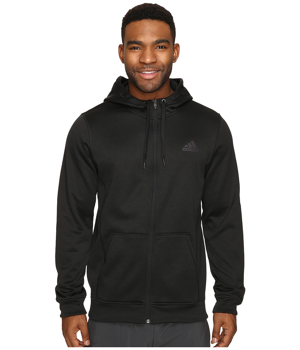 adidas - Team Issue Fleece Full Zip Hoodie (Black Heather/Utility Black) Men's Sweatshirt