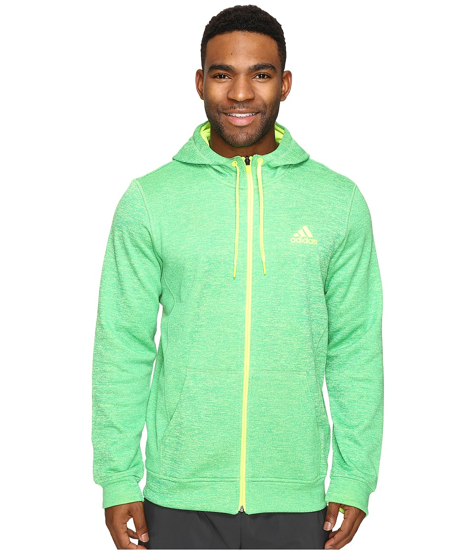 adidas - Team Issue Fleece Full Zip Hoodie (Vapour Blue Heather/Solar Yellow) Men's Sweatshirt