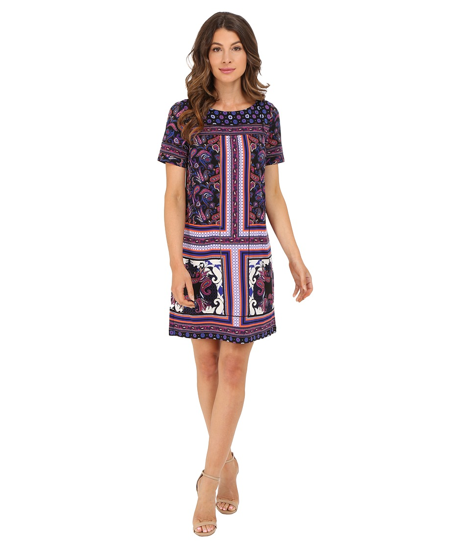 Adrianna Papell - Print Shift Dress (Black Multi) Women's Dress